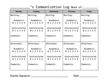 Parent/Teacher Daily Communication Behavior Log