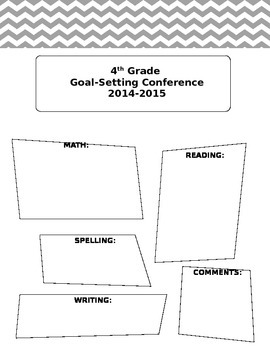Parent Teacher Goal Setting Form
