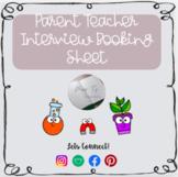 Parent Teacher Interview Booking Sheet