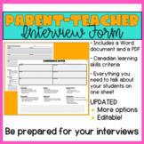 Parent - Teacher Interview Form