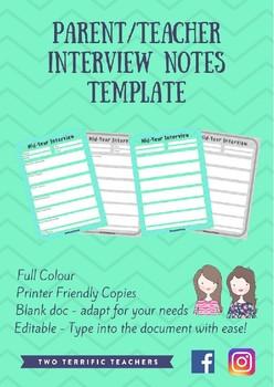 Parent/Teacher Interview Notes Template