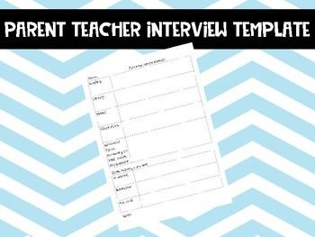Parent Teacher Interview/meeting/conference Template