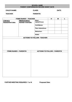 *EDITABLE* Parent Teacher Interviews/Conferences Sheet