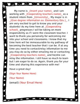 Parent / Teacher Letters EDITABLE