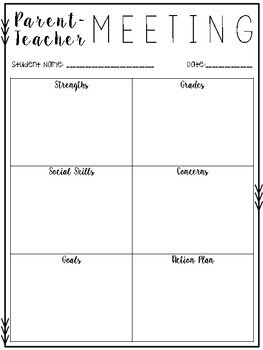 parent teacher meeting forms by miss gorton s class tpt