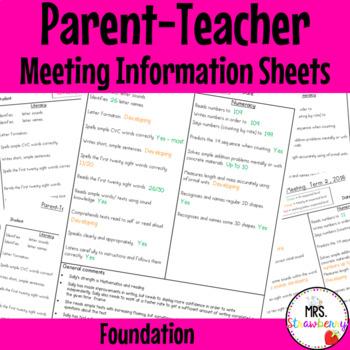 Foundation Parent Teacher Meeting - Student Information Sheets **EDITABLE**