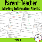 Year 1 Parent Teacher Meeting Student Information Sheets EDITABLE