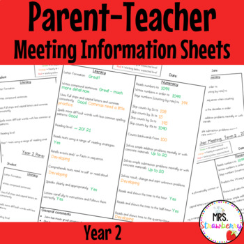 Year 2 Parent Teacher Meeting - Student Information Sheets **EDITABLE**