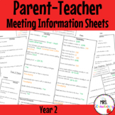 Year 2 Parent Teacher Meeting - Student Information Sheets **EDITABLE**
