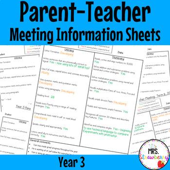 Year 3 Parent Teacher Meeting - Student Information Sheets **EDITABLE**