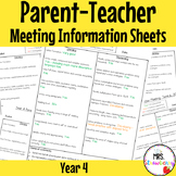 Year 4 Parent Teacher Meeting - Student Information Sheets **EDITABLE**
