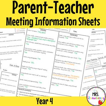 Year 4 Parent Teacher Meeting - Student Information Sheets