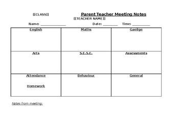 Parent Teacher Meeting Template