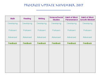 Parent/Teacher Progress Update