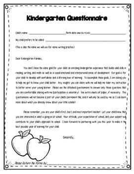 Parent & Teacher Questionnaire Forms