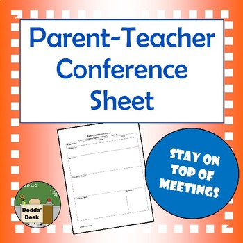 Parent-Teacher Report Card Conference Sheet