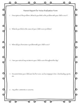 Parent/Teacher Reports for Voice Evaluation