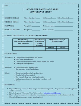 Parent-Teacher-Student Conference Sheet