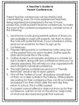 Parent Teacher & Student Lead Conference Forms