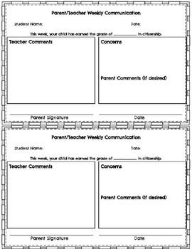 Parent/Teacher Weekly Communication