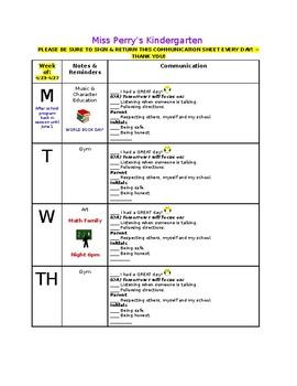 Parent-Teacher Weekly Communication
