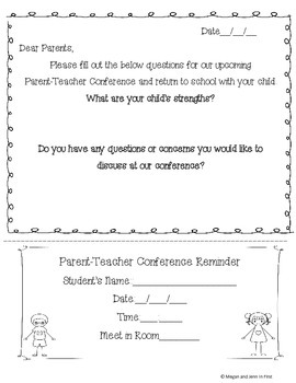Parent, Teacher and Student Conference Pack