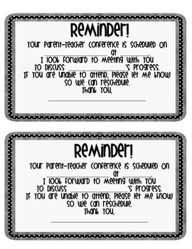 Parent-Teacher and Student Led Conference Reminders (Polka Dot)