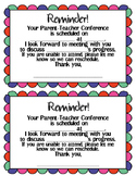 Parent-Teacher and Student Led Conference Reminders (Rainbow)