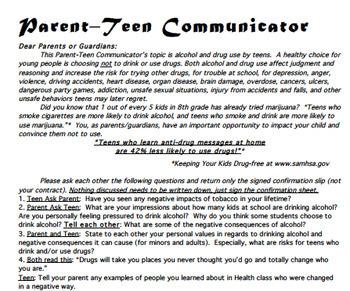 Tobacco / Alcohol / Drug Parent -Teen Communicator Homework FREE!