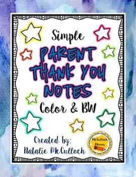 Parent Thank You Notes