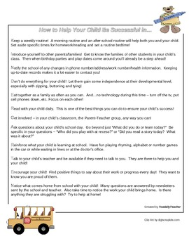 Parent Tips Handout - Kindergarten