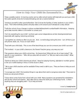 Parent Tips Handout - Kindergarten
