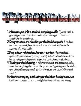 Parent Tips Handouts