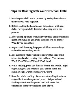 Parent Tips: Reading With Your Preschool Child