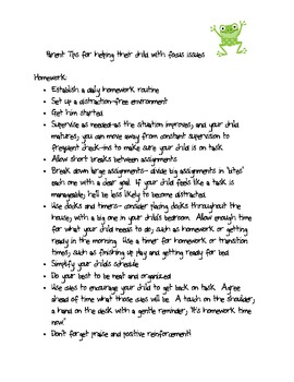 Parent Tips for kids with focus issues