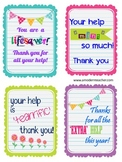 Parent Volunteer Appeciation Gift Tags / Cards