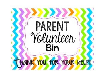 Parent Volunteer Bin Label