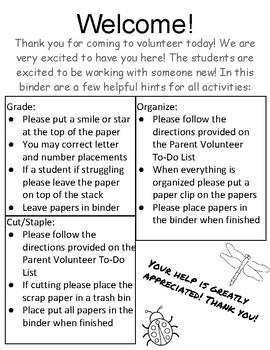 Parent Volunteer Binder!!!