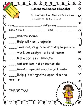 Parent Volunteer Checklist