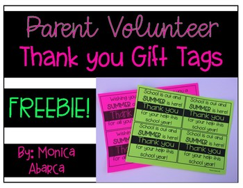 Parent Volunteer End of the Year Gift Tags
