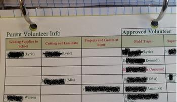 Parent Volunteer Excell Sheet