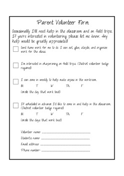 Parent Volunteer Form -Black & White
