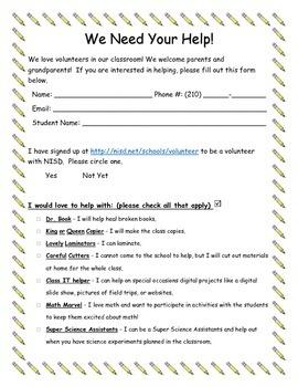 Parent Volunteer Form PDF