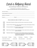 Parent Volunteer Form for Elementary Classroom