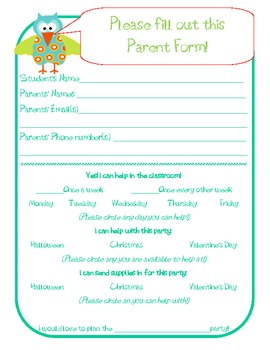 Parent Volunteer Form with Cute Owl Beginning of the Year by ...
