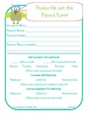 Parent Volunteer Form with Cute Owl Beginning of the Year