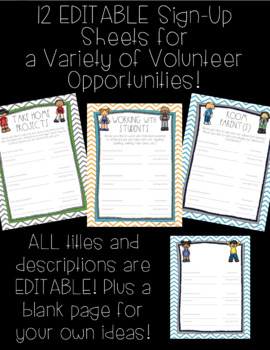 Classroom Volunteer Forms! Includes EDITABLE pages!