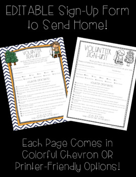 Classroom Volunteer Forms!...CAMPING THEME...Includes several EDITABLE pages!