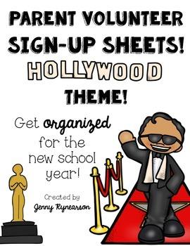 Parent Volunteer Forms! ~Hollywood Theme~ Great for Beginn