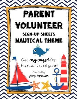 Parent Volunteer Forms! ~Nautical Theme~